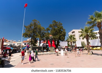 AYVALIK, TURKEY - AUGUST 15, 2018 : Old harbour and City Center view in Ayvalik Center. Ayvalik is populer tourist destination in Balikesir, Turkey.