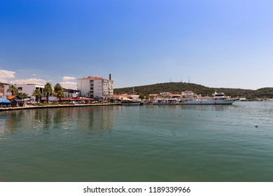 AYVALIK, TURKEY - AUGUST 15, 2018 : Old harbour view in Ayvalik Center. Ayvalik is populer tourist destination in Balikesir, Turkey.