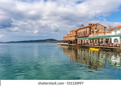 Ayvalik, Turkey - February 14, 2014 : Old harbour view in Ayvalik. Ayvalik is populer tourist destination in Turkey.