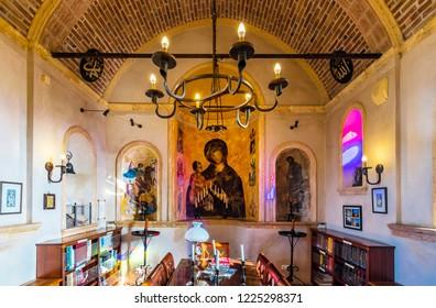 Ayvalik, Turkey - November 08, 2018 : Sevim and Necdet City Library interior view in Cunda Island of Ayvalik Town.