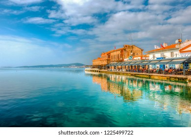 Ayvalik, Turkey - November 08, 2018 : Old harbour view in Ayvalik. Ayvalik is populer tourist destination in Turkey.