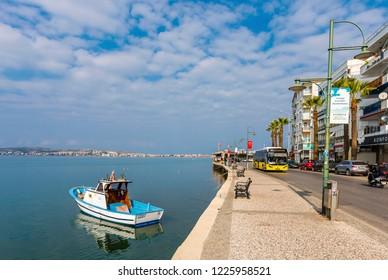 Ayvalik, Turkey - November 08, 2018 : Coastal street view in Ayvalik Town.