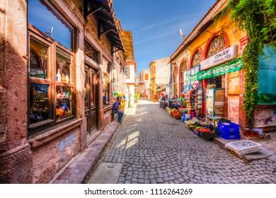 Ayvalik, Turkey - October 17, 2014 : Ayvalik Town old streets view. Ayvalik is populer tourist destination in Turkey.