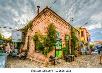 Ayvalik, Turkey - October 17, 2014 : Street view in Cunda Island in Ayvalik. Ayvalik is an old town by the Aegean Sea.