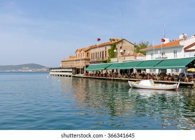 Ayvalik, Turkey - October 17, 2014 : Old harbour view in Ayvalik. Ayvalik is old town near Aegean Sea
