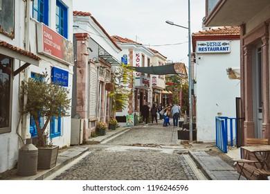 Ayvalik / Turkey - September 17 2017: Views of Ayvalik town on Cunda island at Aegean side of Turkey