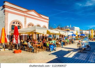 Ayvalik, Turkey - September 22, 2012 : Street view in Cunda Island in Ayvalik. Ayvalik is an old town by the Aegean Sea.