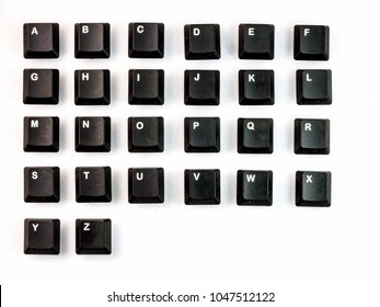 A-Z black computer keyboards botton on the White background.