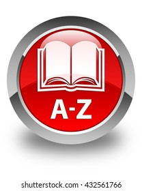 A-Z (book icon) glossy red round button