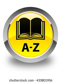A-Z (book icon) glossy yellow round button