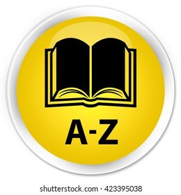 A-Z (book icon) yellow glossy round button