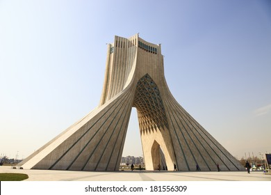 azadi tower in tehran Iran with blue sky background