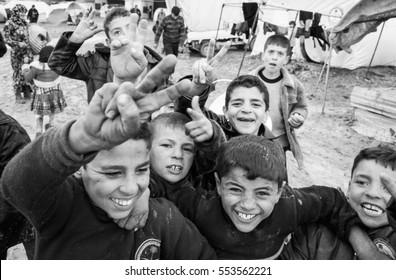 Azaz, Syria - January 26, 2014. Refugee camp  near the village Azaz 60 kilometers from Aleppo in Syria close the border with Turkey in Kilis.