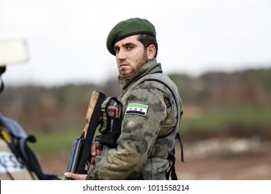 AZAZ, SYRIA - JANUARY 27: Free Syrian Army are waiting on border on January 27, 2018 in Azaz, Syria.