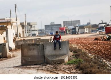 AZAZ, SYRIA - JANUARY 27: People are walking in Azaz city on January 27, 2018 in Azaz, Syria.