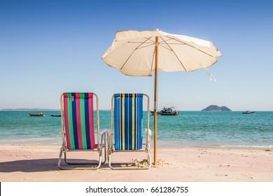 Azeda Beach in Buzios. Rio de Janeiro. Brazil. Chair and Umbrella