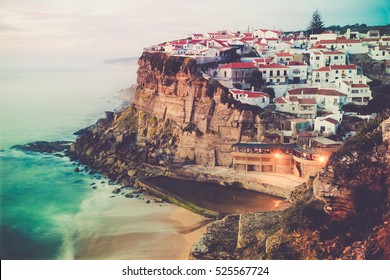 Azenhas do Mar stunning village built on a rock on the atlantic coast near Lisbon, Portugal