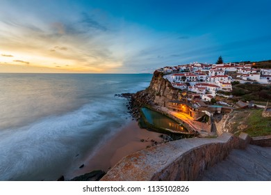 The Azenhas do Mar village at sunset in Portugal, Europe; Concept for travel in Portugal and most beautiful places in Portugal
