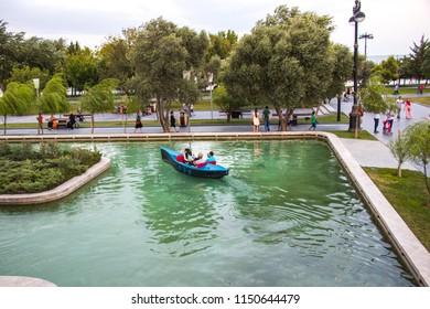 Azerbaijan - Baku: 5 August 2018. The Little Venice water park on the Baku Boulevard. Traditional Gondola on Little Venice in Baku.