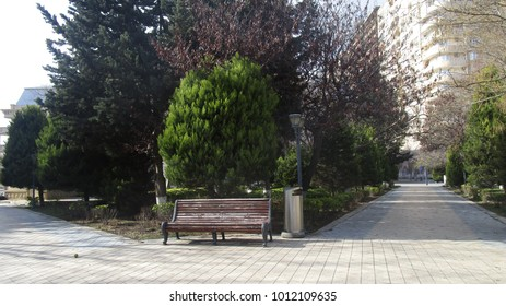 Azerbaijan, Baku city. Vintage bench in the park of Baku