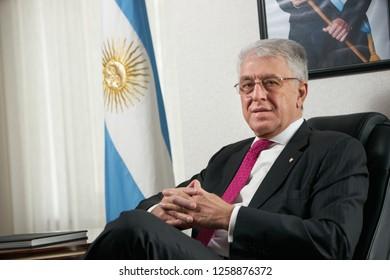 Azerbaijan, Baku - January 10, 2018: Ambassador Carlos Dante Riva portrait. Ambassador of Argentina to Azerbaijan Mr.Carlos dante riva