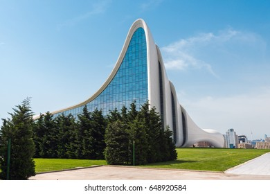 Azerbaijan, Baku, May 20, 2017. Heydar Aliyev Center building with auditorium, gallery hall and museum. Designed by world-famous architect Zaha Hadid.