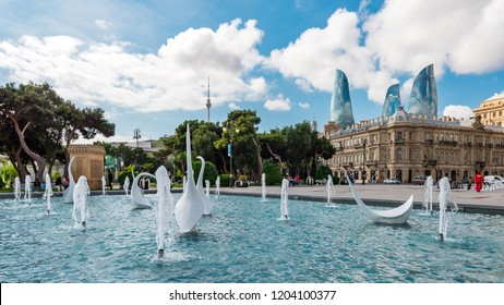 Azerbaijan, Baku, October 09, 2018. View of swans fountains  in the National Seaside Park
