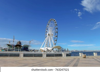 Azerbaijan, Baku, October 15.2017: Devil's wheel on Baku Boulevard. The 60-foot diameter device has 30 cabins, each with 8 seats in it