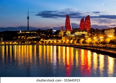Azerbaijan, Baku - September 16, 2015: Night view of the Flame Towers. Flame Towers are new skyscrapers in Baku