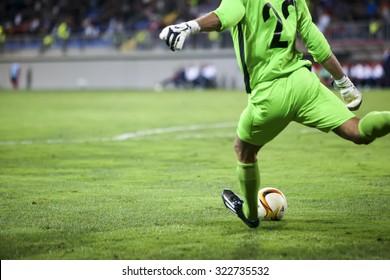 Azerbaijan, Baku - September 17, 2015: Dmytro Bezotosniy during the UEFA Europa League game between Qabala and PAOK, in Baku, Azerbaijan.