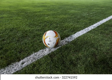 Azerbaijan, Baku - September 17, 2015: The official game ball of UEFA Europa League game between Qabala and PAOK, in Baku, Azerbaijan.