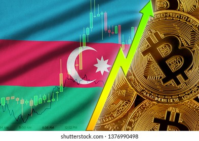 Azerbaijan flag and cryptocurrency growing trend with many golden bitcoins