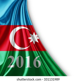 Azerbaijan flag of silk ,number 2016 with copyspace for your text or images and white background