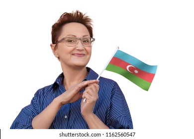 Azerbaijan flag. Woman holding Azerbaijani flag. Nice portrait of middle aged lady 40 50 years old with a national flag isolated on white background.