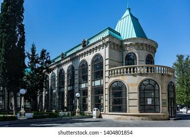 Azerbaijan Ganja. Ganja State Philharmonic named after Fikrat Amirov. Paranormal image of the Philharmonic. Azerbaijan Ganja. April 10, 2019