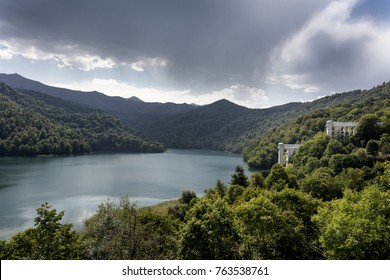 Azerbaijan, Goygol: Panoramic view landscape scenery on famous Lake Göygöl - the blue lake. The natural impounded lake is situated at the footsteps of Murovdag mountain, near Ganja - concept nature
