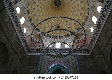 AZERBAIJAN, JUMA MOSQUE-CIRCA MAY 2019--unidentified people near the mosque