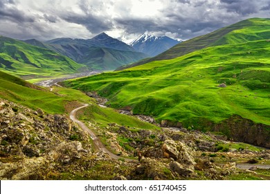 Azerbaijan landscape in nature, Beautiful mountains and hills in the north of Azerbaijan near Quba in the village Khinaliq