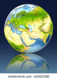 Azerbaijan on globe with reflection. Illustration with detailed planet surface. Elements of this image furnished by NASA.