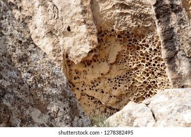 Azerbaijan, Qobustan. Webbed limestone erosion at Gobustan National Park.