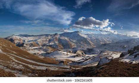AZERBAIJAN, QUBA - march 20,2015:  the big Caucasus mountains