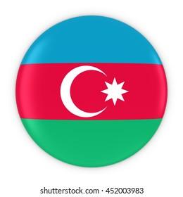 Azerbaijani Flag Button - Flag of Azerbaijan Badge 3D Illustration
