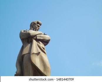 "Azerbaijani poet Jafar Jabbarli Statue. The monument of the novelist Jafar Jabbarli in Baku, Azerbaijan. It is located near the Azerbaijan Main Railway Station and ""28 May"" Subway station in Baku."