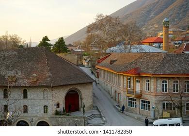 Azerbaijan,in the city of Sheki. Houses and the Caravanserai. April 2017