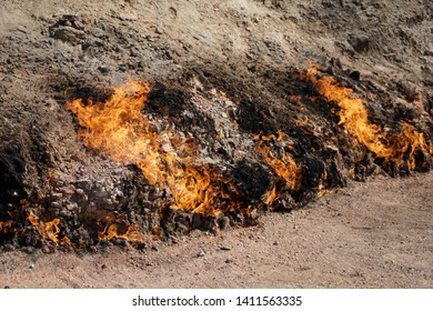 Azerbaydjan, at Yanar Dag, a place where   is a natural gas fire which blazes continuously on a hillside.