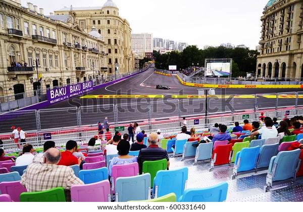 AZERBAYJAN, BAKU -17 JUNE, 2016 : FORMULA 1, GRAND PRIX OF EUROPE race car racing at high speed on speed track with motion blur