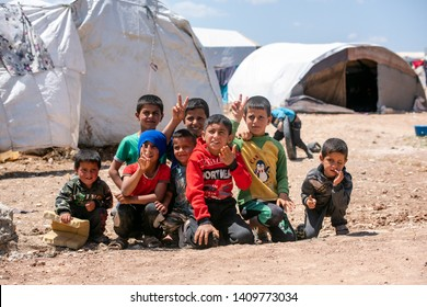 AZEZ, SYRIA – MAY 19: Kids, Refugee camp for syrian people in Azez on May 19, 2019 in Azez, Syria. In the civil war that began in Syria in 2011, 12 million people were displaced.