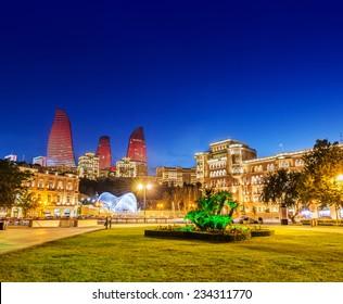 Azneft square during evening hours in Baku Azerbaijan