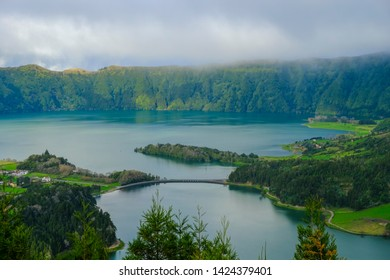 Azores, beautiful landscape of Lagoon Sete Cidade (Lagoa das Sete Cidades), Sao Miguel Island, Azores, Portugal, Europe