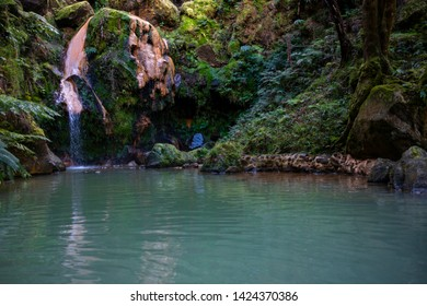 Azores, Caldeira Velha, natural spa with waterfall in Ribeira Grande, Sao Miguel, Azores islands, Portugal